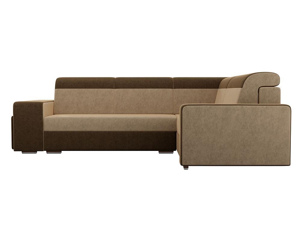 Угловой диван Модена с двумя пуфами правый Микровельвет Бежевый\Коричневый фото