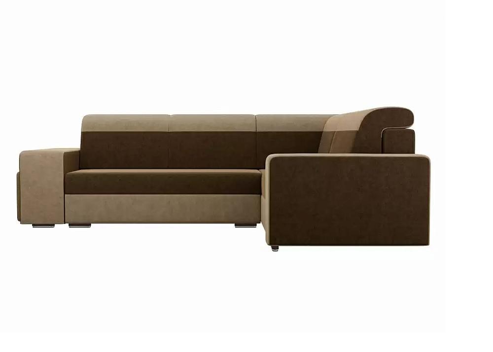 Угловой диван Модена с двумя пуфами правый Микровельвет Коричневый\Бежевый фото