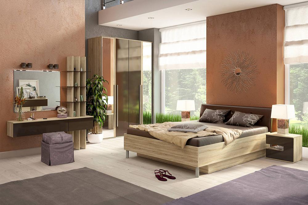 Спальня Ирма 3 Шоколад глянец/ Дуб сонома