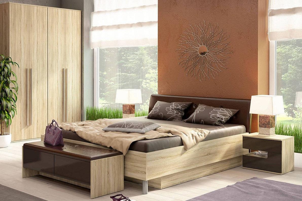 Спальня Ирма-2 Шоколад глянец/ Дуб сонома