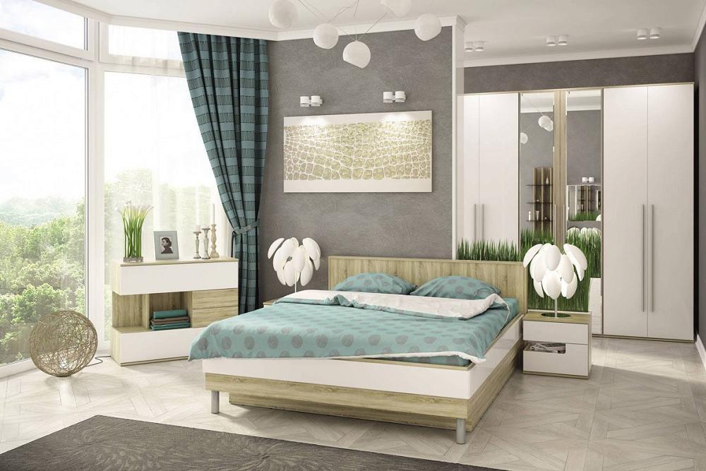 Спальня Ирма 1 Белый глянец/ Дуб сонома