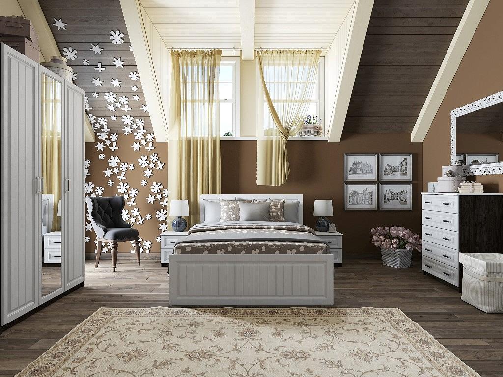 Купить со скидкой Спальня Прага-01 Белое дерево/Венге Премиум