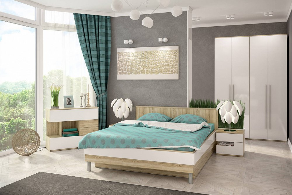 Спальня Ирма Дуб сонома/Белый глянец