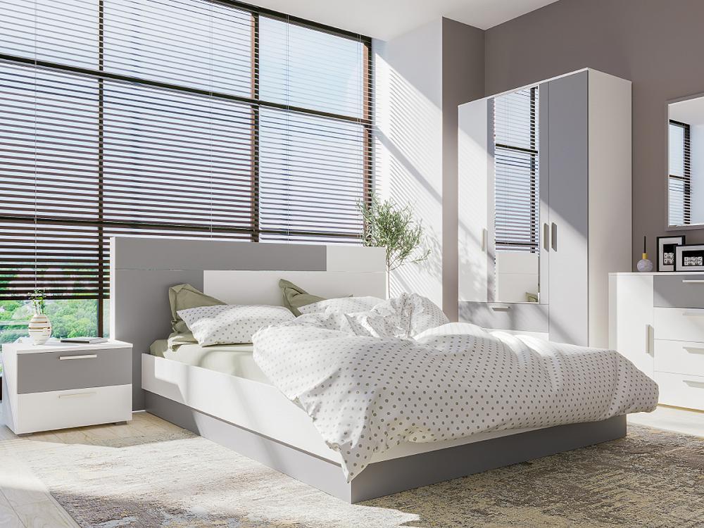 Спальня Локи Белый премиум/Серый шифер