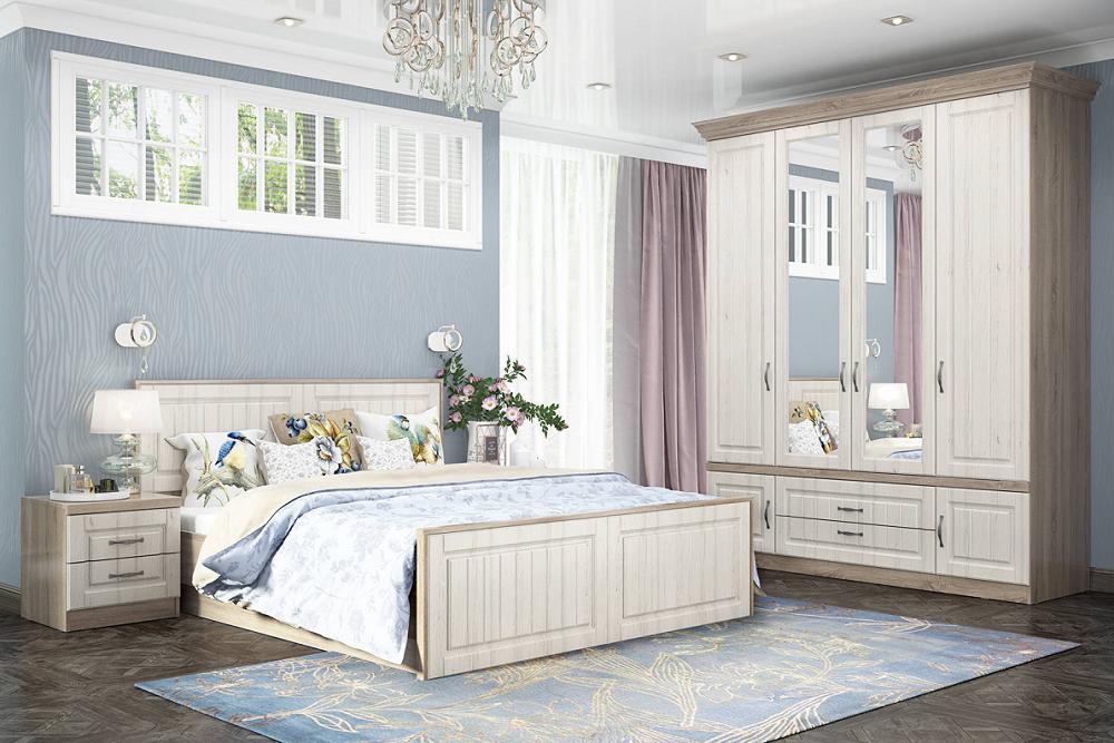 Спальня Соната Дуб Сонома/Andersen Pine White