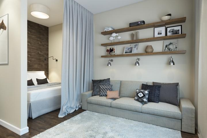 Приятный интерьер однокомнатной квартиры