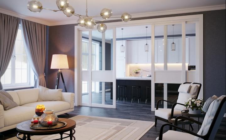 Дизайн гостиных с раздвижными дверями