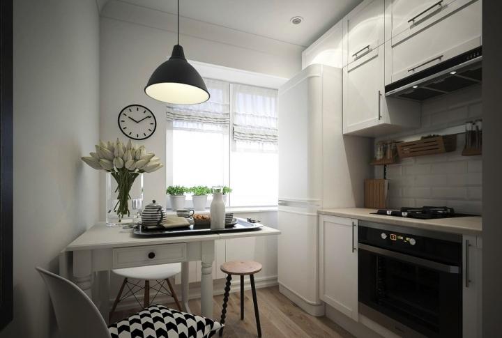 Черно-белая классическая кухня