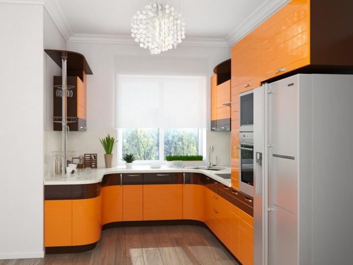 П-образная оранжевая кухня