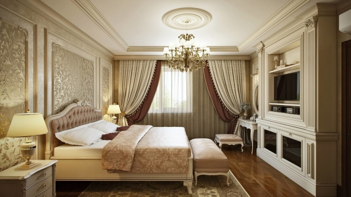 Оформление интерьера спальни в классическом стиле