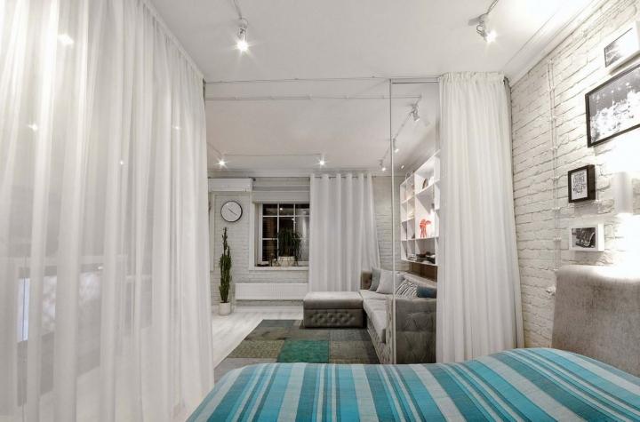 Перегородки для зонирования пространства в комнате шторами