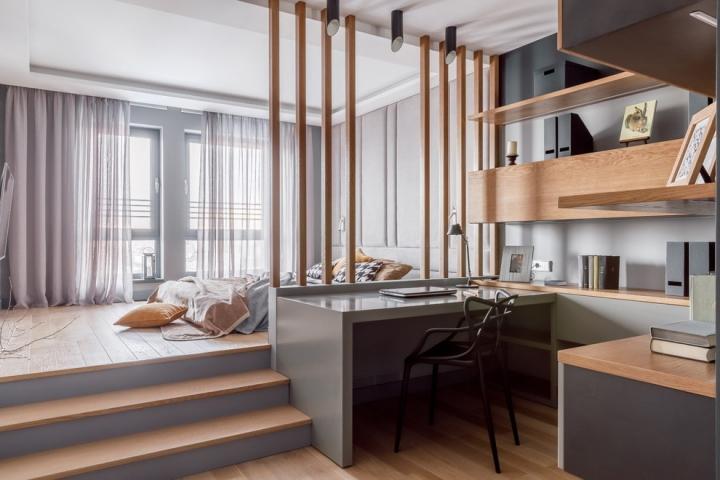 Способы зонирования спальни-кабинета