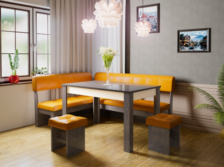 Кухонный уголок Валенсия Искусственная кожа Оранжевый