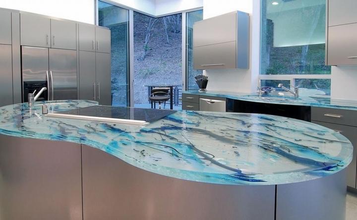 Стеклянная кухонная столешница, модный дизайн кухонного шкафа.