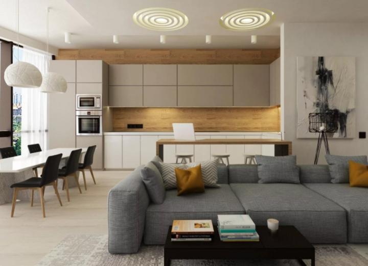 Просторная кухня-гостиная в современном стиле