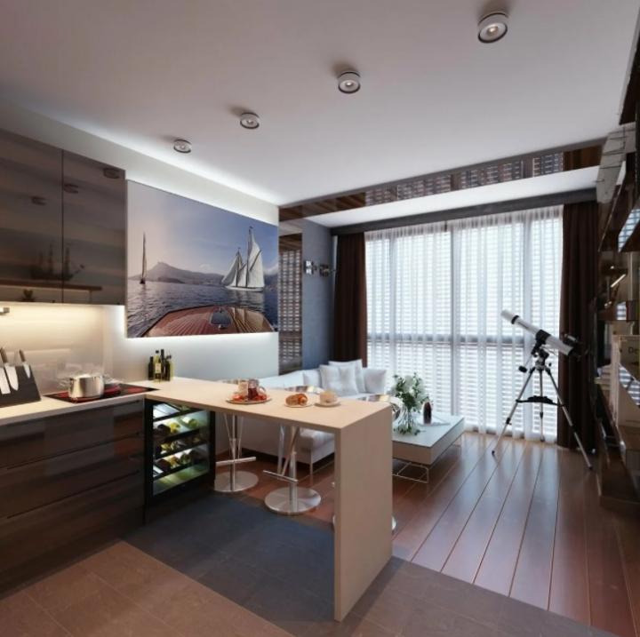 Маленькая уютная кухня-гостиная с барной стойкой