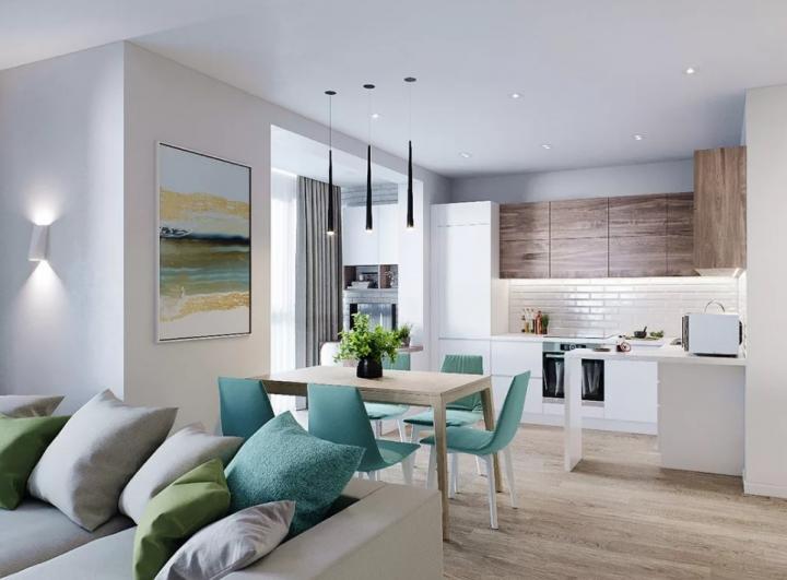 Светлая кухня-гостиная с акцентами голубого