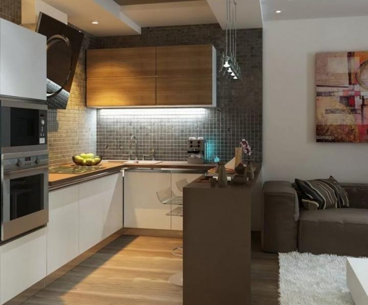 Оформление интерьера кухни-гостиной
