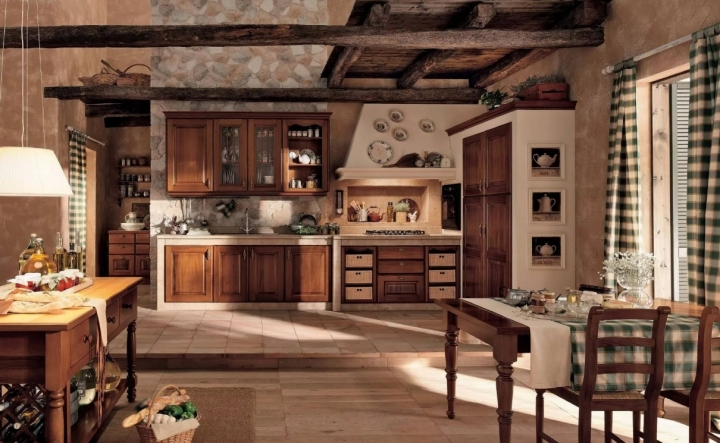 Интерьер кухни в стиле кантри в загородном доме