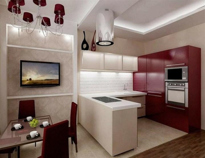 Разделение пространства кухни с помощью барной стойки