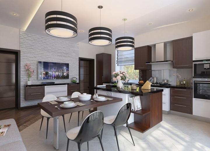 Кухня-столовая в бело-коричневых оттенках
