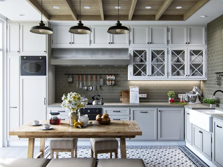 Сканди стиль в интерьере кухни-столовой
