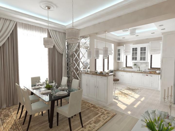 Светлая кухня-столовая в классическом стиле