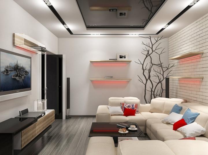 Красивый интерьер гостиной в стиле хай-тек