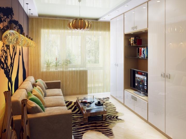 Интерьер гостиной в маленькой квартире