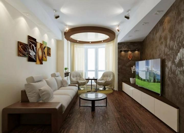Расстановка мебели в узкой гостиной