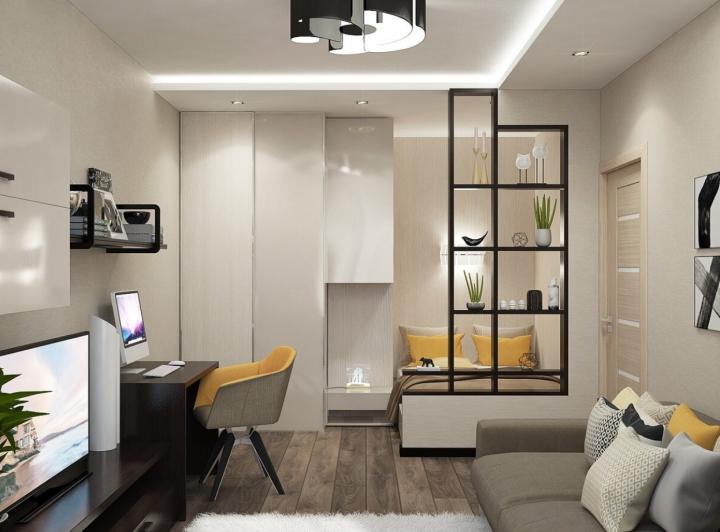 Дизайн гостиных с зонированием