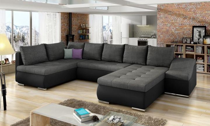 Мягкий угловой диван NORE Giovanni, серый/черный