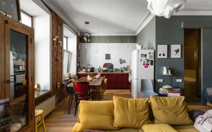 Интерьер квартиры в ретро стиле
