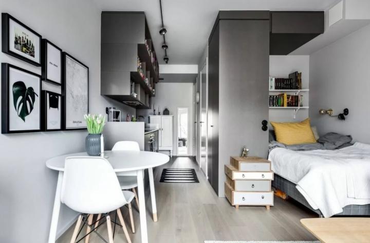 Совмещение кухни, гостиной и спальни в квартире