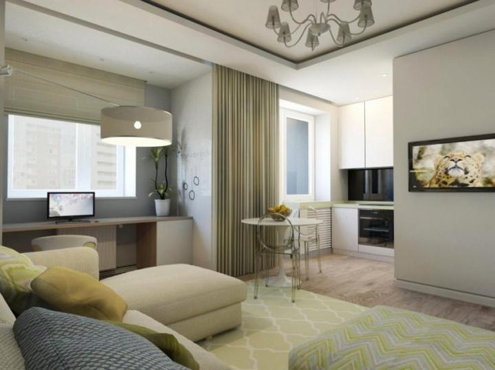 Дизайн проект однокомнатной квартиры с зелеными акцентами