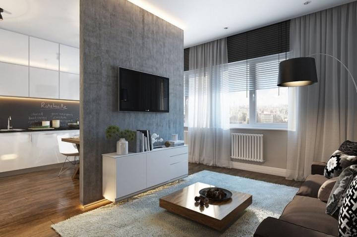 Кухня гостиная в современном стиле в светлых тонах