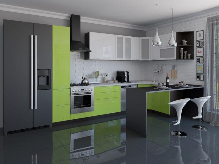 Угловая кухня Валерия-М-04 Белый глянец/Салатовый глянец.