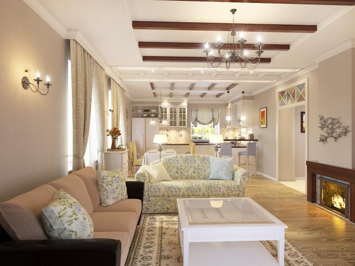 Стиль прованс в оформлении кухни-гостиной