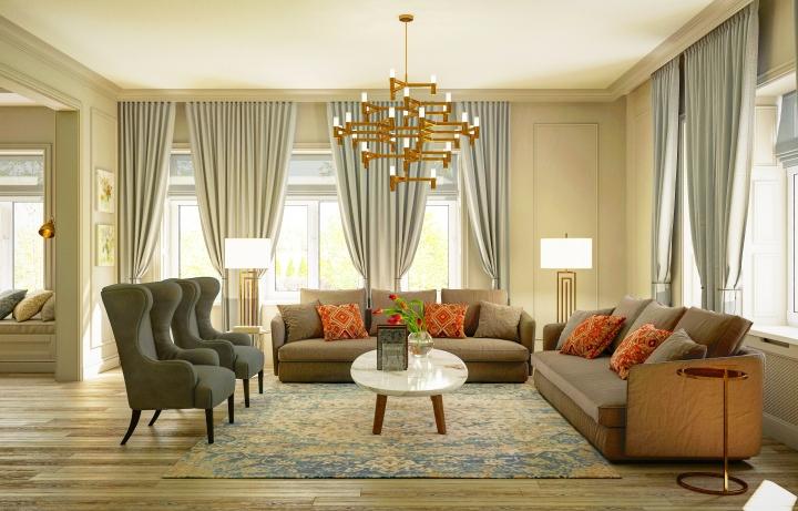 Большая гостиная с небольшим количеством декора