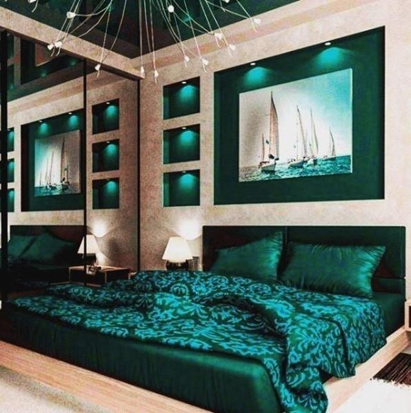 Зелёная спальня в современном стиле