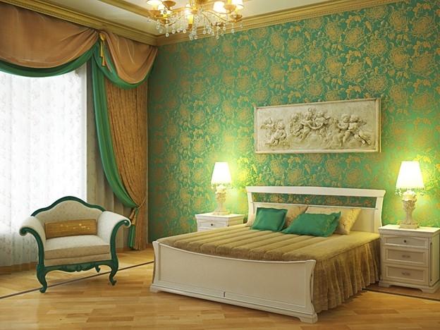 Золотисто зелёные тона в спальне